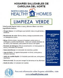 UNC CEHS Green Cleaning fact sheet (Spanish)